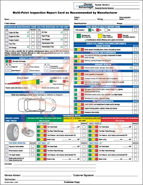 Multi Point Inspection Form 2 Part FD-QC-O 500